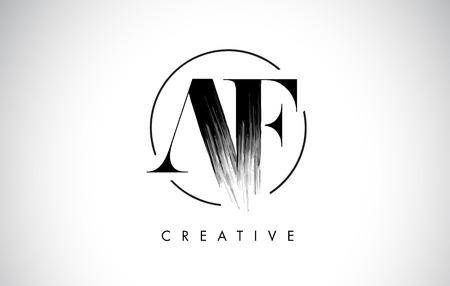 AF Brush Stroke Letter Logo Design. Zwarte verf Logo Leters pictogram met elegante cirkel Vector Design.
