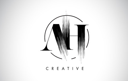 AH Brush Stroke Letter Logo Design. Zwarte verf Logo Leters pictogram met elegante cirkel Vector Design.