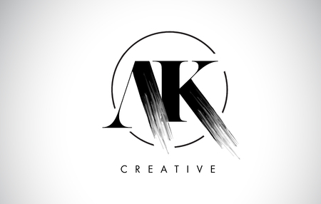AK Brush Stroke Letter Logo Design. Black Paint Logo Leters Icon with Elegant Circle Vector Design. Stock Illustratie