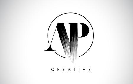 AP Brush Stroke Letter Logo Design. Zwarte verf Logo Leters pictogram met elegante cirkel Vector Design.