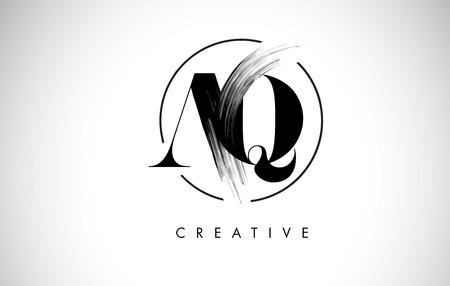 AQ Brush Stroke Letter Logo Design. Zwarte verf Logo Leters pictogram met elegante cirkel Vector Design.