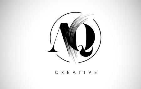 AQ Brush Stroke Letter Logo Design. Zwarte verf Logo Leters pictogram met elegante cirkel Vector Design. Stock Illustratie