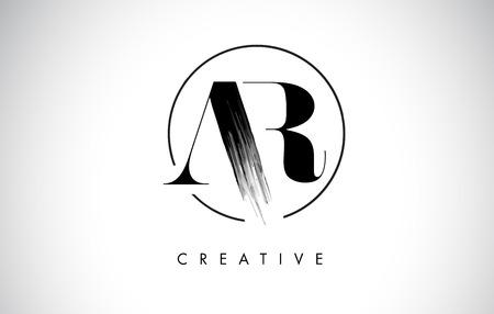 AR Brush Stroke Letter Logo Design. Black Paint Logo Leters Icon with Elegant Circle Vector Design.
