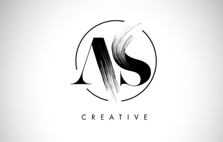 AS Brush Stroke Letter Logo Design. Black Paint Logo Leters Icon with Elegant Circle Vector Design. Stock Illustratie