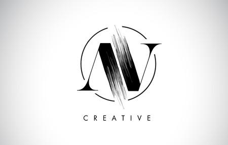 AV Brush Stroke Letter Logo Design. Zwarte verf Logo Leters pictogram met elegante cirkel Vector Design.
