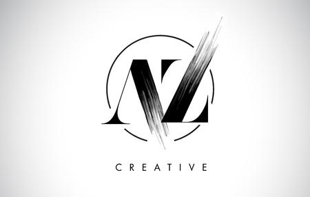 AZ Brush Stroke Letter Logo Design. Zwarte verf Logo Leters pictogram met elegante cirkel Vector Design.