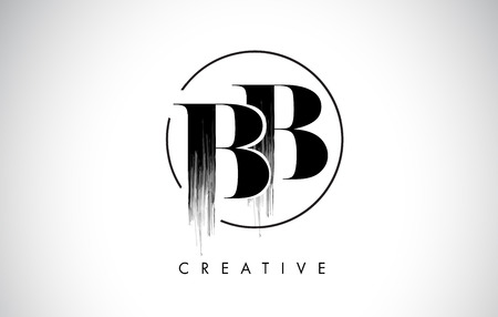BB Brush Stroke Letter Logo Design. Black Paint Logo Leters Icon with Elegant Circle Vector Design.