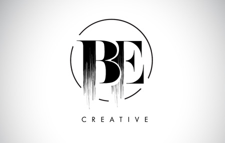BE Brush Stroke Letter Logo Design. Zwarte verf Logo Leters pictogram met elegante cirkel Vector Design.
