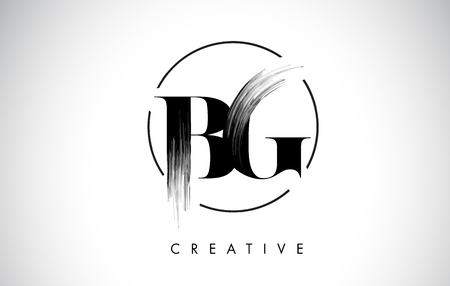 BG Brush Stroke Letter Logo Design. Black Paint Logo Leters Icon with Elegant Circle Vector Design. Stock Illustratie