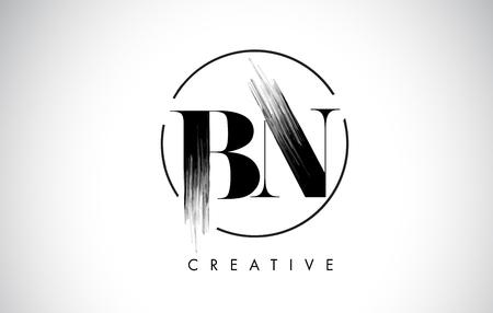 BN Brush Stroke Letter Logo Design. Zwarte verf Logo Leters pictogram met elegante cirkel Vector Design.