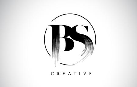 BS ブラシ ストローク文字ロゴ デザイン。ブラック塗装ロゴ欧文アイコン円エレガントなベクター デザイン。