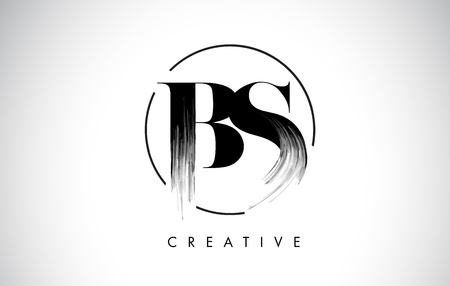 BS Brush Stroke Letter Logo Design. Zwarte verf Logo Leters pictogram met elegante cirkel Vector Design.