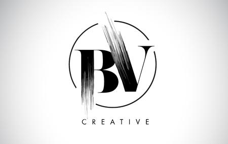 BV Brush Stroke Letter Logo Design. Zwarte verf Logo Leters pictogram met elegante cirkel Vector Design.