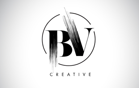 BV Brush Stroke Letter Logo Design. Black Paint Logo Leters Icon with Elegant Circle Vector Design. Illustration