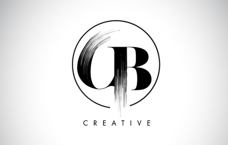 CB Brush Stroke Letter Logo Design. Black Paint Logo Leters Icon with Elegant Circle Vector Design.