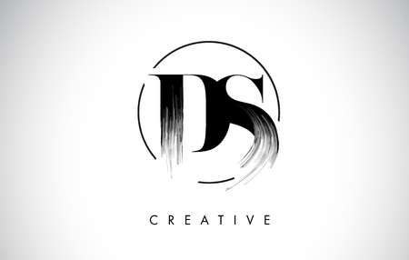 DS Brush Stroke Letter Logo Design. Zwarte verf Logo Leters pictogram met elegante cirkel Vector Design.
