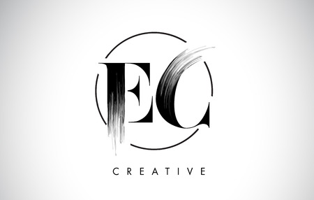 EC Brush Stroke Letter Logo Design. Black Paint Logo Leters Icon with Elegant Circle Vector Design.