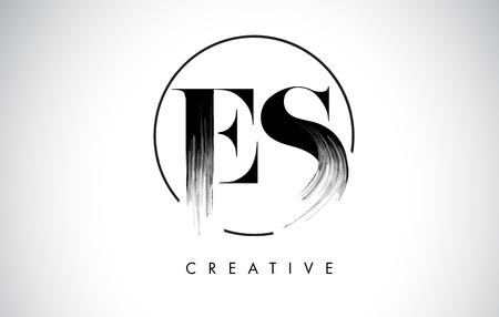 ES Brush Stroke Letter Logo Design. Black Paint Logo Leters Icon with Elegant Circle Vector Design.