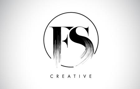 FS Brush Stroke Letter Logo Design. Zwarte verf Logo Leters pictogram met elegante cirkel Vector Design.