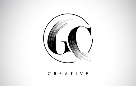 GC Brush Stroke Letter Logo Design. Zwarte verf Logo Leters pictogram met elegante cirkel Vector Design. Stock Illustratie