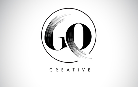 GO Brush Stroke Letter Logo Design. Zwarte verf Logo Leters pictogram met elegante cirkel Vector Design.