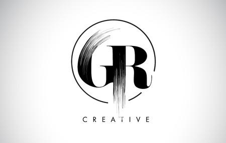 GR Brush Stroke Letter Logo Design. Zwarte verf Logo Leters pictogram met elegante cirkel Vector Design.