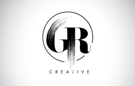 GR Brush Stroke Letter Logo Design. Zwarte verf Logo Leters pictogram met elegante cirkel Vector Design. Stock Illustratie