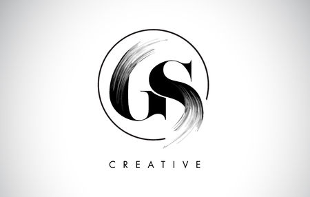 GS Brush Stroke Letter Logo Design. Zwarte verf Logo Leters pictogram met elegante cirkel Vector Design.