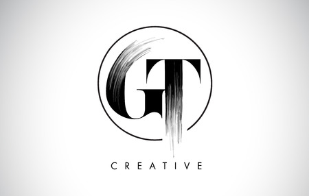 GT Brush Stroke Letter Logo Design. Zwarte verf Logo Leters pictogram met elegante cirkel Vector Design.