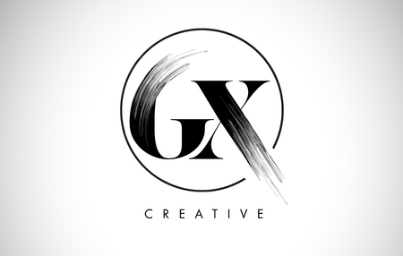 GX Brush Stroke Letter Logo Design. Zwarte verf Logo Leters pictogram met elegante cirkel Vector Design. Stock Illustratie