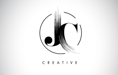 JC Brush Stroke Letter Logo Design. Zwarte verf Logo Leters pictogram met elegante cirkel Vector Design.