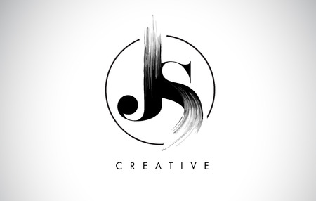 JS Brush Stroke Letter Logo Design. Zwarte Verf Logo Leters Pictogram Met Elegant Circle Vector Ontwerp.