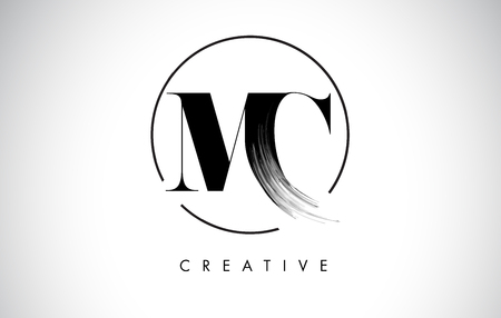 MC Brush Stroke Letter Logo Design. Zwarte verf Logo Leters pictogram met elegante cirkel Vector Design.