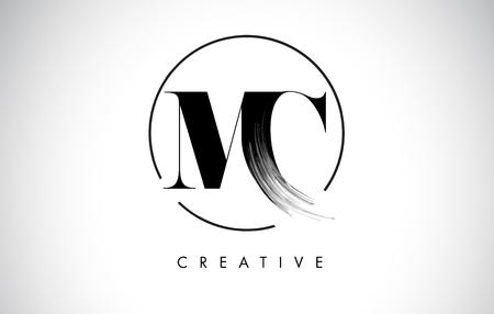 MC Brush Stroke Letter Logo Design. Zwarte verf Logo Leters pictogram met elegante cirkel Vector Design. Logo
