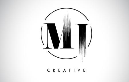 MH Brush Stroke Letter Logo Design. Black Paint Logo Leters Icon with Elegant Circle Vector Design. Vettoriali