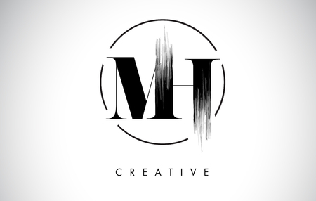 MH Brush Stroke Letter Logo Design. Black Paint Logo Leters Icon with Elegant Circle Vector Design. Illustration