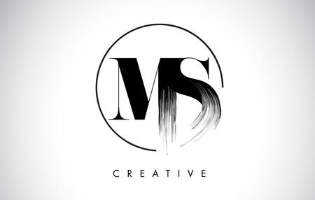 MS Brush Stroke Letter Logo Design. Black Paint Logo Leters Icon with Elegant Circle Vector Design. Stock Illustratie