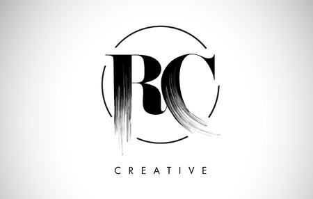 RC Brush Stroke Letter Logo Design. Zwarte verf Logo Leters pictogram met elegante cirkel Vector Design.