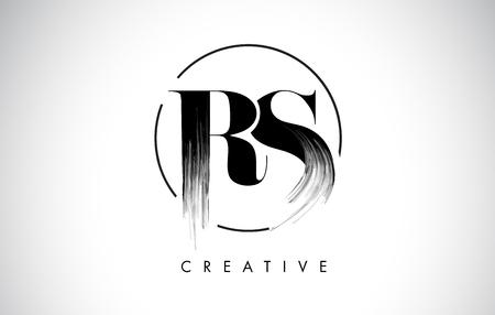 RS ブラシストローク文字ロゴデザイン。エレガントなサークルベクターデザインのブラックペイントロゴ Leters アイコン。