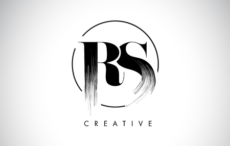 RS Brush Stroke Letter Logo Design. Zwarte verf Logo Leters pictogram met elegante cirkel Vector Design.