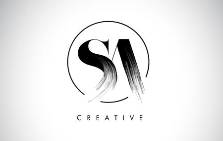 SA Brush Stroke Letter Logo Design. Zwarte verf Logo Leters pictogram met elegante cirkel Vector Design. Logo