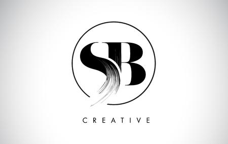 SB 브러쉬 스트로크 레터 로고 디자인. 검은 페인트 로고 우아한 원 벡터 디자인으로 편지 아이콘.