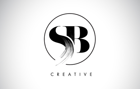 SB Brush Stroke Letter Logo Design. Black Paint Logo Leters Icon with Elegant Circle Vector Design. Vettoriali