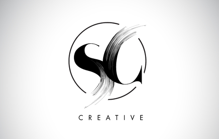 SC Brush Stroke Letter Logo Design. Black Paint Logo Leters Icon with Elegant Circle Vector Design.