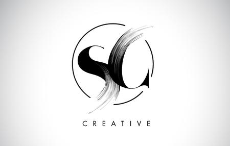 SC Brush Stroke Letter Logo Design. Icona di Leters di logo di vernice nera con design elegante cerchio vettoriale.