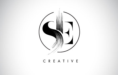 SE Brush Stroke Letter Logo Design. Black Paint Logo Leters Icon with Elegant Circle Vector Design.