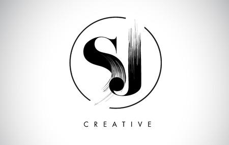 SJ Brush Stroke Letter Logo Design. Zwarte verf Logo Leters pictogram met elegante cirkel Vector Design.