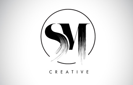 SM Brush Stroke Letter Logo Design. Black Paint Logo Leters Icon with Elegant Circle Vector Design.  イラスト・ベクター素材