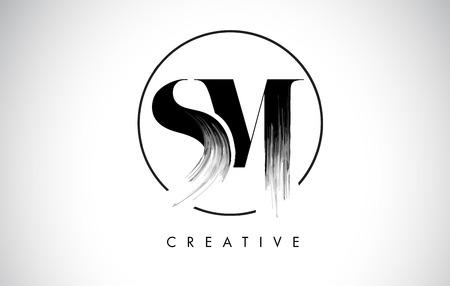 SM Brush Stroke Letter Logo Design. Black Paint Logo Leters Icon with Elegant Circle Vector Design. Vettoriali