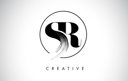 SR Brush Stroke Letter Logo Design. Black Paint Logo Leters Icon with Elegant Circle Vector Design.